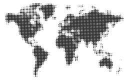 Monochromatycznego halftone światowa mapa, wektorowa ilustracja ilustracja wektor