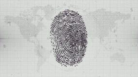 Monochromatycznego odcisku palca elektroniczny ID na Ziemskim mapy tle Obrazy Royalty Free