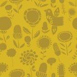 Monochromatycznego silhoutte kwiecisty bezszwowy wzór ilustracja wektor