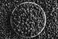 Monochromatycznej gryczanej tekstury wysokiej jakości fotografia premii gryczanych groats pojęcie właściwy odżywianie i zdrowy st Obraz Stock