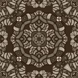 Monochromatycznej sepiowej fantazi bezszwowy wektorowy ornamentacyjny wzór royalty ilustracja