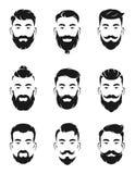 Monochromatyczni avatar systemy modnisiów portrety i twarz elementy Mężczyzna wąsy, broda royalty ilustracja