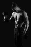 Monochromatyczni strzały męski bodybuilder Obrazy Royalty Free