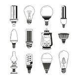 Monochromatyczni symbole światło Różne żarówki w wektoru stylu ilustracja wektor