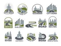 Monochromatyczny duży set logotypu szablon z asfaltowymi drogami, autostradą lub autostradą, ilustracja wektor