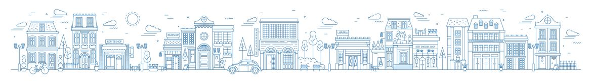 Monochromatyczny horyzontalny miastowy krajobraz z miastem, miasteczko okręg lub ulica lub Pejzaż miejski z utrzymanie domami rys ilustracji