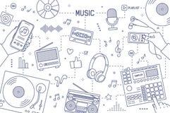 Monochromatyczny horyzontalny sztandaru szablon z rękami i przyrządami dla muzyczny bawić się, nagrywać i słuchać rysuję z, ilustracji