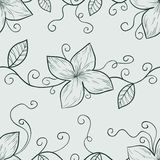 Monochromatyczny kwiecisty bezszwowy wzór royalty ilustracja