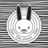 Monochromatyczny liniowy tło z sylwetki ramą dekoracyjną i twarz królika zwierząt ślicznym tekstem Zdjęcia Stock