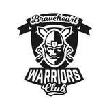 Monochromatyczny logo, emblemat, rycerz w hełmie przeciw tłu kordziki crosswise Viking, barbarzyńca, wojownik Fotografia Stock