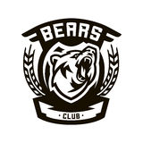 Monochromatyczny logo, emblemat, warczy niedźwiedzia Zdjęcie Royalty Free
