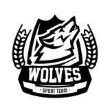 Monochromatyczny logo, emblemat, wy wilka Obraz Stock