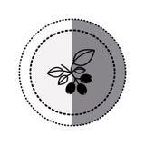 monochromatyczny majcheru kontur w kółkowej kropki linii z kawową gałąź Zdjęcie Royalty Free