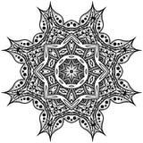 Monochromatyczny mandala Wzór w okręgu na białym tle Ja Obrazy Stock