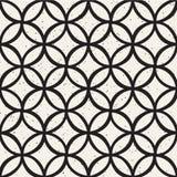 Monochromatyczny minimalistic bezszwowy wzór z okręgami Prosta ręka rysująca tekstura Wektorowy tło z zaokrąglonymi liniami ilustracja wektor