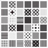 Monochromatyczny ustawiający geometryczni wzory Tylko czarny i biały kolory Fotografia Royalty Free