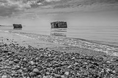 Monochromatyczny wizerunek bunkiery w morzu bałtyckim między Ahrenshoop i Wustrow Obrazy Stock