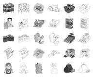 Monochrome супермаркета и оборудования, значки плана в установленном собрании для дизайна Приобретение символа вектора продуктов иллюстрация штока