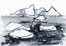 Monochrome ландшафта с айсбергом Стоковые Фотографии RF