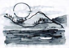 Monochrome ландшафта с горой Стоковая Фотография RF