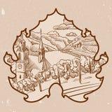 Monochrome ландшафт виноградника в лист иллюстрация штока