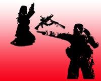 Monochrome армии солдат вектора Стоковые Изображения