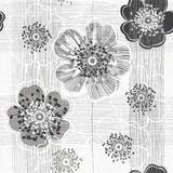 Monochrome безшовная картина абстрактных цветков Нарисованный вручную flor иллюстрация штока
