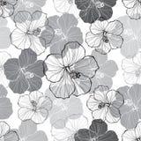 Monochrome безшовная картина с цветками гибискуса бесплатная иллюстрация