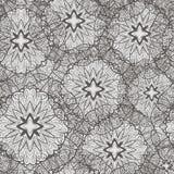 Monochrome безшовная картина с цветками Иллюстрация вектора