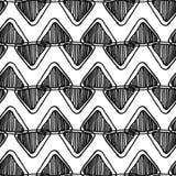 Monochrome безшовная картина шеврона zentangle с треугольниками doodle Стоковые Изображения