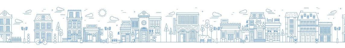 Monochrome безшовный городской ландшафт с улицей или районом города Городской пейзаж при жилые дома и магазины нарисованные с иллюстрация штока