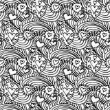 Monochrome вектор картины Zentangle безшовный Стоковое Изображение RF