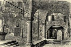 Monochrome деревни Montecatini Val di Cecina итальянский средневековый Стоковые Фото