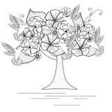 Monochrome зацветая дерево с колибри для книжка-раскраски иллюстрация вектора