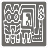 Monochrome значок с американским искусством индейцев и этническими орнаментами Стоковые Изображения