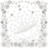 Monochrome зонтик doodle нарисованный рукой с сердцами в рамке цветков анти- иллюстрация стресса бесплатная иллюстрация