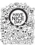 Monochrome искусство doodle имеет славный день Стоковая Фотография