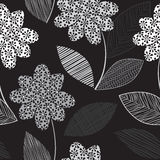 Monochrome картина с абстрактными цветками на черной предпосылке безшовное предпосылки флористическое иллюстрация штока