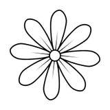 Monochrome контур дизайна значка цветка маргаритки флористического бесплатная иллюстрация