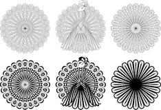 Monochrome круговые орнаменты Стоковые Фотографии RF