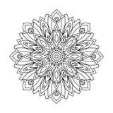 Monochrome мандала контура Востоковедная картина рука нарисованная предпосылкой Стоковое Изображение RF
