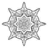 Monochrome мандала контура для книжка-раскраски иллюстрация штока