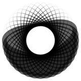 Monochrome мотив изолированный на белизне Абстрактный круговой элемент Стоковое Изображение