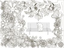 Monochrome нарисованная рука doodle цветет предпосылка, мыть кота на стенде Стоковые Изображения RF