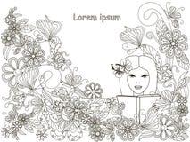 Monochrome нарисованная рука doodle читающ девушку в предпосылке цветков, ipsum Lorem Анти- стресс Стоковые Фото