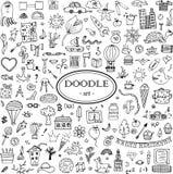 Monochrome нарисованный вручную комплект doodle для дизайна иллюстрация штока