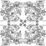 Monochrome орнамент нарисованный рукой Стоковые Фотографии RF