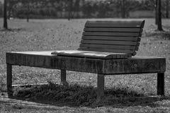 Monochrome парк стенда искусства публично, одиночество на ясном солнечном весеннем дне Стоковое фото RF
