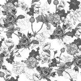 Monochrome предпосылка с цветками бесплатная иллюстрация