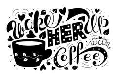 Monochrome проспите она вверх с иллюстрацией вектора кофе черно-белое оформление литерности иллюстрация штока